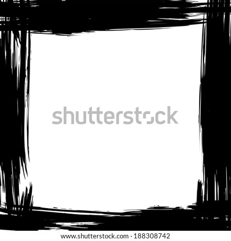 Abstract grunge background with brush black frame
