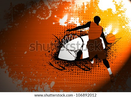 Abstract grunge Basketball jump background with space - stock photo