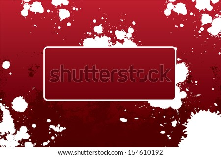 Abstract grunge frame with blots in red color
