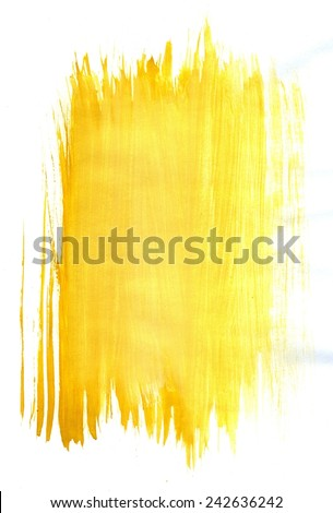 Abstract grunge gouache painting background of yellow color. - stock photo