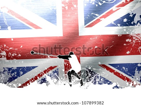 Abstract grunge Hammer Throw and flag background with space