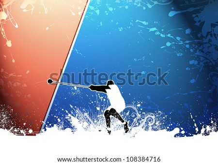 Abstract grunge Hammer Throw background with space