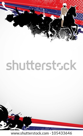 Abstract grunge horse jumping sport background with space - stock photo
