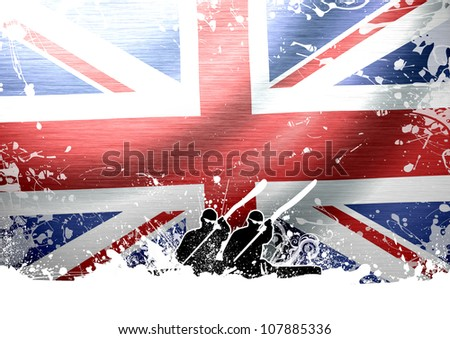 Abstract grunge Kayak and flag background with space - stock photo
