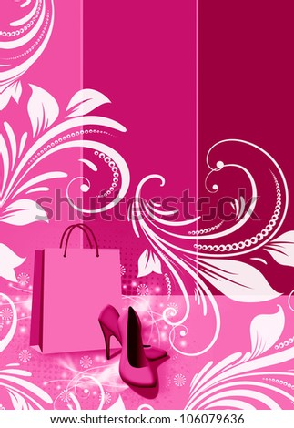 Abstract grunge Shoe shopping background with space - stock photo