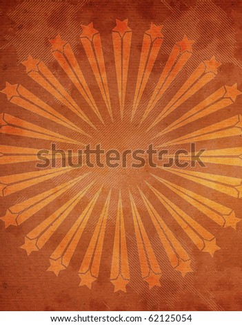 Abstract Grunge textured background with starburst on a orange background - stock photo
