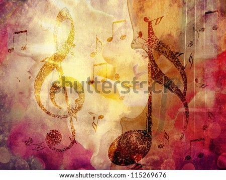 Abstract grunge, vintage music with notes background - stock photo