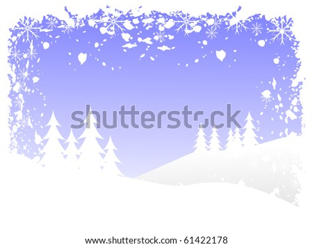 Abstract grunge winter  background scene with  snowy christmas trees on a hilly landscape. - stock photo