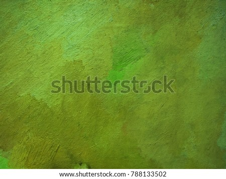 Abstract grungy dark khaki, yellow green and dark green colorful hand drawn oil smears with canvas texture