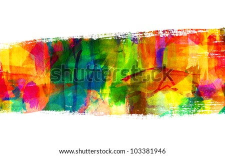Abstract guasch painting. Brush stroke. Smeared stain. Freehand drawing - stock photo