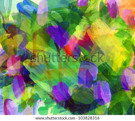 Abstract guasch painting. Smeared stain. Freehand drawing - stock photo