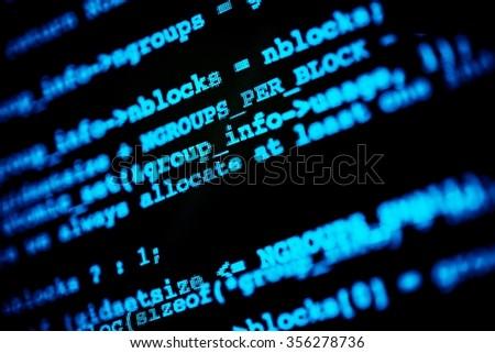 Abstract Hacking Codes. Hacker Computer Screen Closeup - stock photo