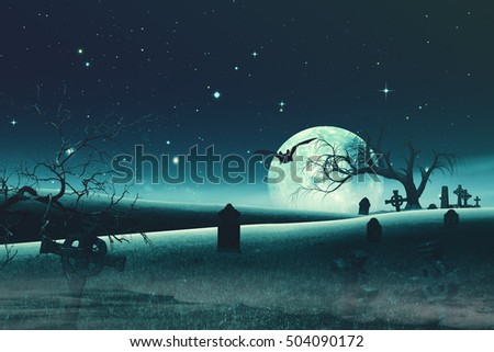 Abstract Halloween backgrounds with old cemetery and full Moon