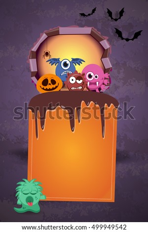 Abstract halloween party invitation poster or flyer background with empty space