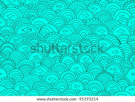 Abstract hand-drawing Seamless pattern with fish and waves, can be used for wallpaper, pattern fills, web page background, surface textures, illustration - stock photo