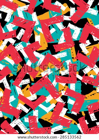 Abstract hand drawn marker pop-art grunge cornered rectangle pattern in red, cyan, orange and white on black background - stock photo