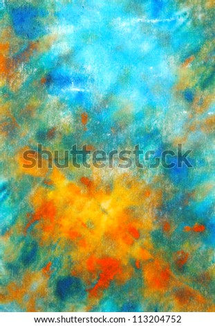 Abstract hand drawn paint background: blue, red, and yellow patterns. Great for art texture, grunge design, and vintage paper - stock photo
