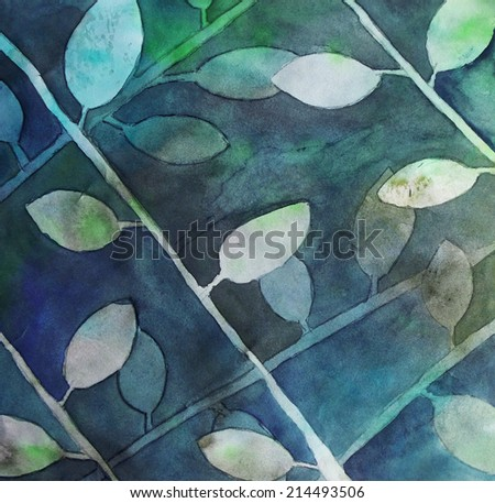 Abstract hand-drawn painted watercolor leaves background texture. - stock photo