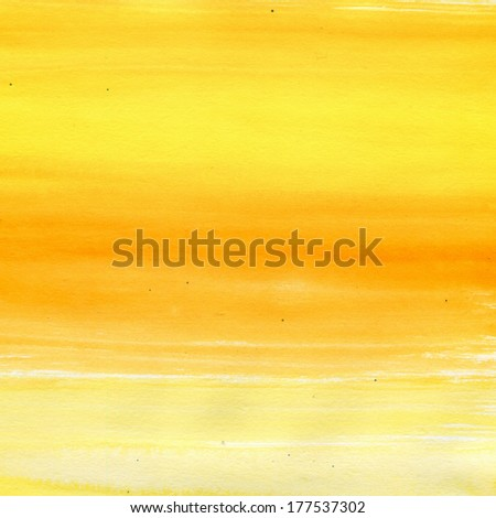 Abstract hand drawn watercolor background. Aquarelle orange and yellow texture.  - stock photo