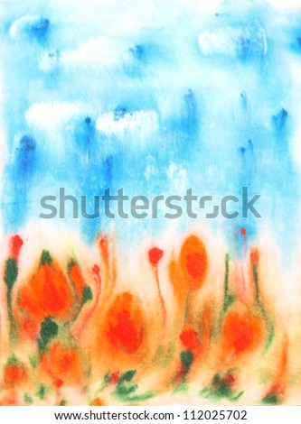 Abstract hand drawn watercolor background: blue sky, green leaves, and red flowers. Great for textures, vintage design, and luxurious wallpaper - stock photo