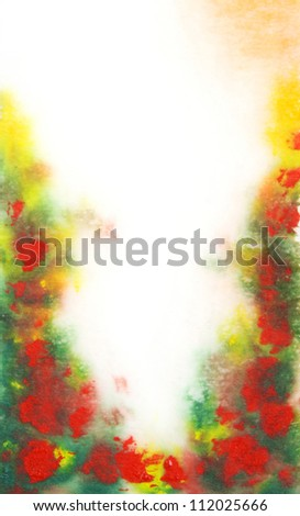 Abstract hand drawn watercolor background: green leaves and red flowers. Great for textures, vintage design, and luxurious wallpaper - stock photo