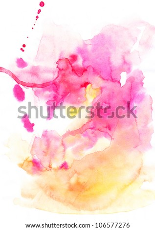 abstract hand drawn watercolor background in yellow and pink, raster illustration, abstract watercolor hand painted background, warm theme - stock photo