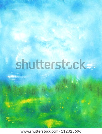 Abstract hand drawn watercolor background: summer landscape with blue sky, green grass and small yellow flowers. Great for textures, vintage design, and luxurious wallpaper