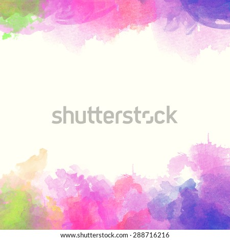 Abstract hand drawn watercolor background. Watercolor composition for scrapbook elements with empty space for text message. - stock photo