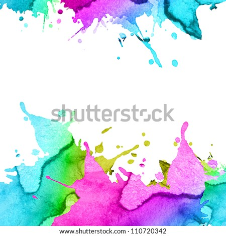 abstract hand drawn watercolor blot background - stock photo