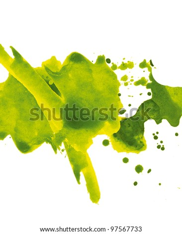 Abstract hand drawn watercolor paint splash - stock photo