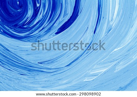 Abstract hand painted blue acrylic art background  - stock photo