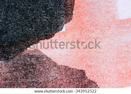 Abstract hand painted red and black watercolor background - stock photo