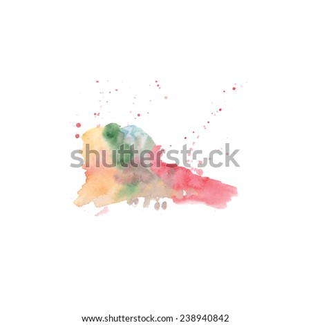 Abstract hand painted watercolor background in the shape of heart. Abstract ink painting - stock photo