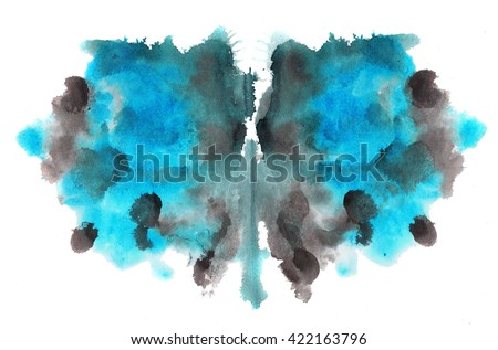 abstract hand painted watercolor ink rorschach grunge background, black and blue flower - stock photo