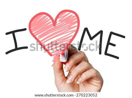 Abstract. Hand writing I Love Me with red marker on transparent wipe board. - stock photo
