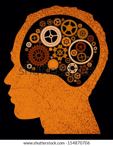 abstract head with cogs and gears.  - stock photo