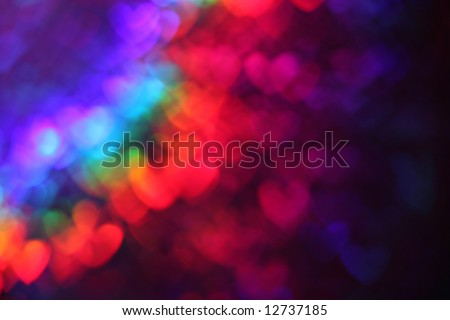 Abstract heart background in rainbow colors - stock photo