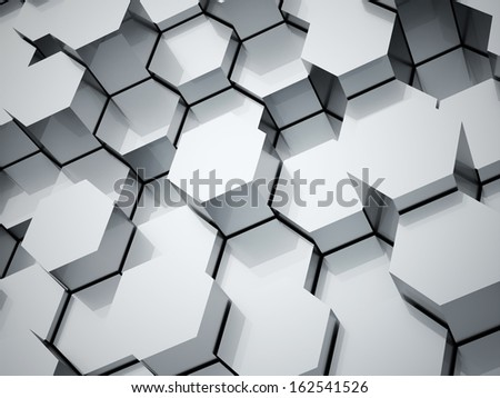 Abstract hexagonal tubes background rendered - stock photo