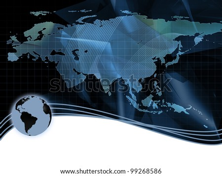 Abstract hi-tech Background with map - stock photo