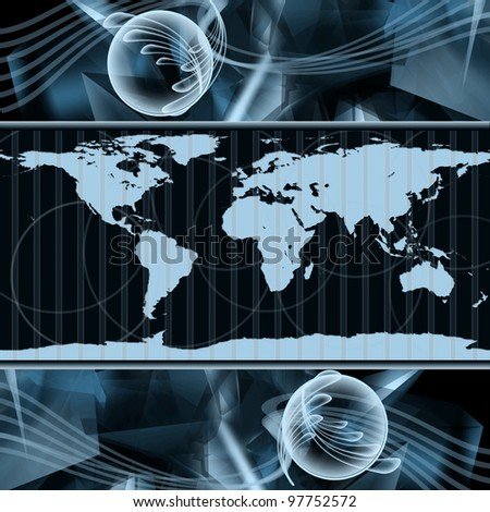 Abstract hi-tech Background with world map - stock photo