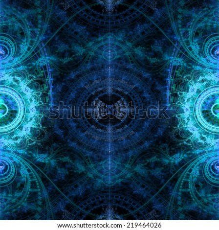 Abstract high resolution background with a crazy circular pattern with many decorative ornamental branches,arches,curves balanced in the middle,all in shining blue and cyan and against black - stock photo