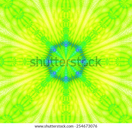 Abstract high resolution background with a detailed abstract star with a 3D illusion and in vivid yellow,green,blue colors - stock photo