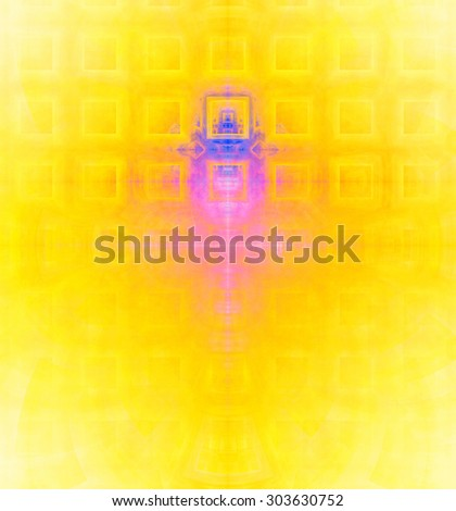 Abstract high resolution background with a detailed geometric square pattern and decorative arches, all in vivid yellow,pink,blue - stock photo