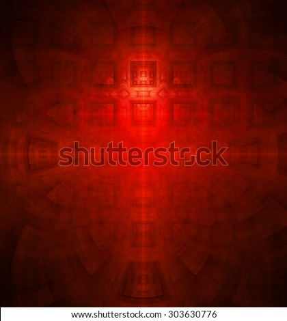 Abstract high resolution background with a detailed geometric square pattern and decorative arches, all in red - stock photo