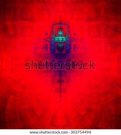 Abstract high resolution background with a detailed geometric square pattern and decorative arches, all in dark and bright vivid red,purple,cyan - stock photo