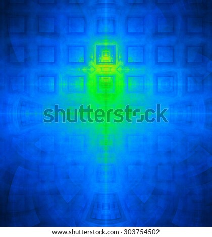 Abstract high resolution background with a detailed geometric square pattern and decorative arches, all in green and blue - stock photo