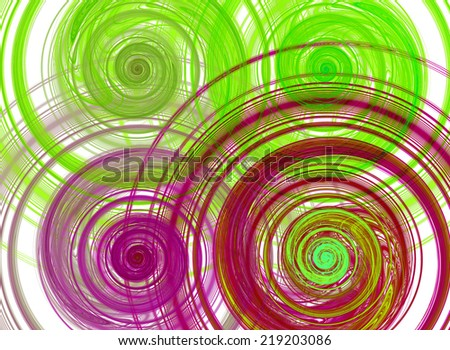 Abstract high resolution background with four detailed vividly colored green, yellow and pink fractal bended and twisted spirals - stock photo