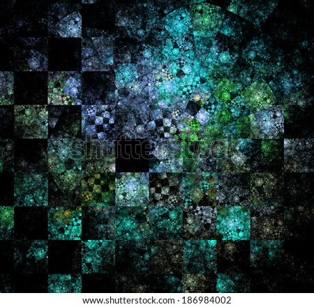 Abstract high resolution checkerboard fractal background in high resolution and with a very detailed decorative spiraling twisted pattern in cyan, green and white - stock photo