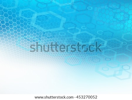 Abstract high resolution illustration of blue faded hexagonal/geometric layered design background perfect for Medical, Healthcare and Science and many other Businesses Plenty of copy space. - stock photo