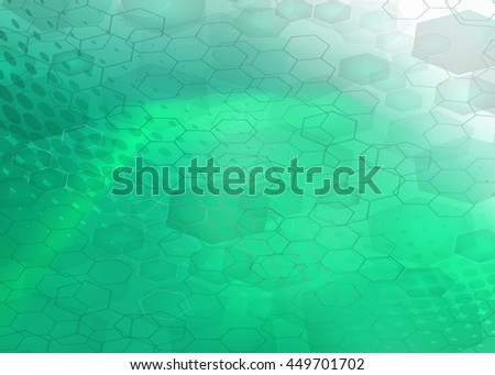 Abstract high resolution molecular illustration of green rogue faded hexagonal/geometric layered design background perfect for Medical, Healthcare and Science. Plenty of copy space. - stock photo